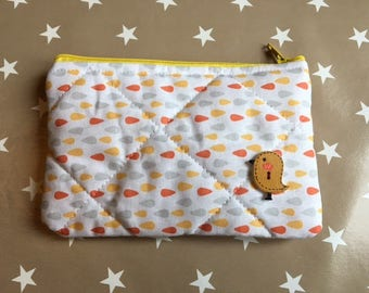 pouch / clutch / wears orange multicolored bird coins