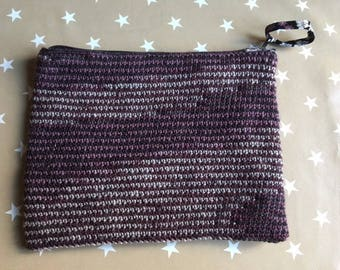 Bag Black and plum crochet lined fabric flowers