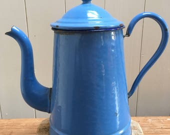 French blue enamel coffee pot. French cuisine/Enamelware/home Decor