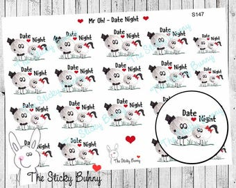 Mr Oh! - Date Night - Planner Stickers for Happy Planner, Erin Condren, Filofax, Kikkik (S147)
