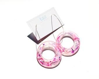 Hoop on C hook - Resin Earrings - PINKS