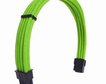 8 Pin Pci-E Custom Sleeved Neon Green Paracord Extension Cable Heatshrinkless GPU