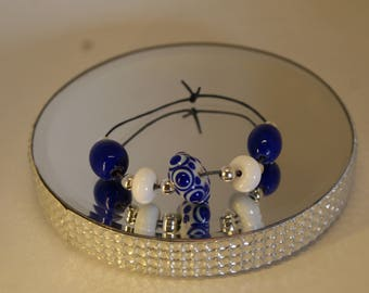 Lampwork Bead Set, Blue and White