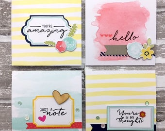 C033 - Handmade Friendship Floral Greeting Note Cards - Set of 4