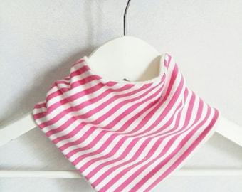 Pink striped bamboo and organic cotton bandana bib