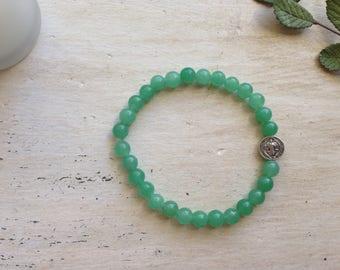 St. Benedict Bracelet - Green Aventurine - Stackable Bracelet - Stretch Bracelet - Stone Bracelet - 6MM Beads