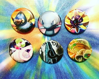 Choose Your Buttons - Set Of Six Psychic Type Pokemon Buttons!