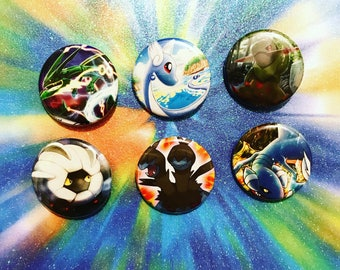Choose Your Buttons - Set Of Six Dragon Type Pokemon Buttons!