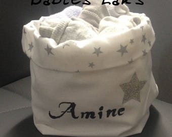 Personalized reversible cotton storage basket