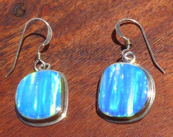 Native Opal and Sterling Silver Earrings, Signed.