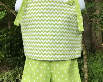 CLEARANCE!! Girls Green Chevron Shorts Set; Size 2T & 4T PolkaDot Shorts; Big Sister-Little Sister Shorts; Green Chevron Shorts Set