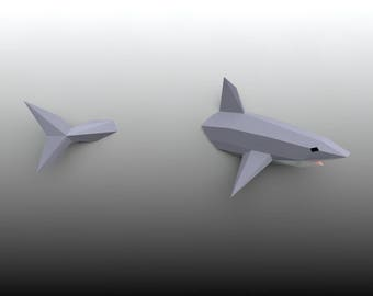 Low Poly Shark Model, 3D Papercraft Shark, White Shark, Wall hanging DIY kit
