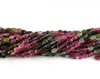 Natural Multi Tourmaline Oval Shape Beads, 5/7mm, 14 Inches Strands