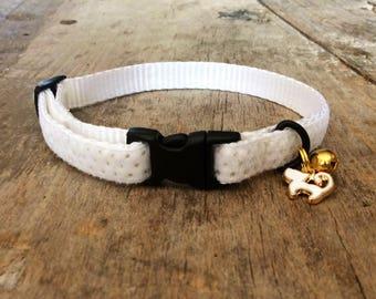 White velvet dots cat collar
