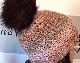 Crochet alpaca yarn beanie