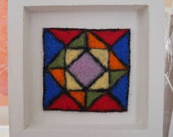 Needle felted framed abstract picture