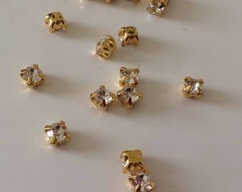 15 rhinestones sewing 5 mm Crystal Gold