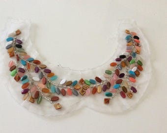 Embroidered collar with beads stone 28 cm wide