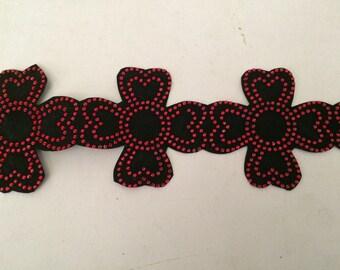 Deco tape to stick to iron iron with red rhinestones