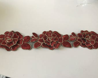 Burgundy and gold lace 6.5 cm width sewing