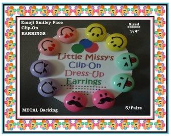 Emoji Clip On Earrings (5) Prs Emoji Smiley Face Clip On Play Dress Up Girls Fun Earrings Party Dress Up Earrings Kids Gifts Party Favors