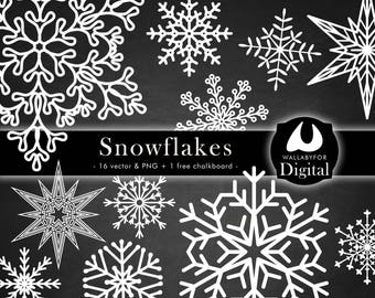 Snowflakes clipart Christmas clip art Snowflakes silhouette Snowflake vector and png on transparent background printable Instant download