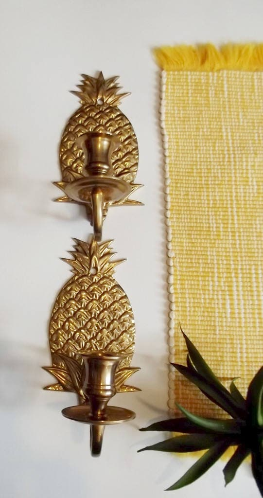 Pair of Brass Pineapple Candle Sconces/Wall Decor/Made in India ...