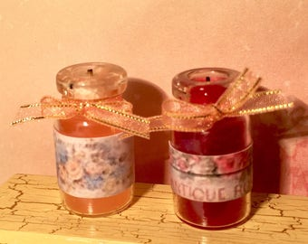 Dolls house miniature candles handmade set 2x scented candles  inch scale