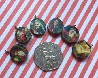 miniature Christmas,  dollhouse decorations, 1/12th or 1/6th scale. wood slice ornaments with vintage Santa motif and hanging strings