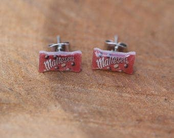 "Tiny ""Malteasers""  stud earrings, quirky food jewellery"