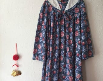 1980s Laura Ashley Brushed Cotton Floral  Smock Nautical Party Dress 7-8y