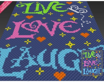 Live Love Laugh crochet blanket pattern; c2c, cross stitch; graph; pdf download; no written counts or row-by-row instructions