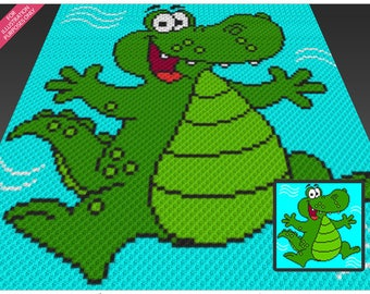 Mr Alligator crochet blanket pattern; c2c, cross stitch; graph; pdf download; no written counts or row-by-row instructions