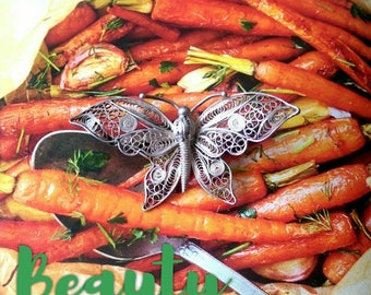 Import 800 Continental Silver Filigree Butterfly Brooch