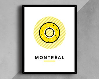 Montreal Print, Bagel Print, City Art, City Wall Art, Wall Art, Printable Art, City Poster, Travel Print, Bagel, Line Art