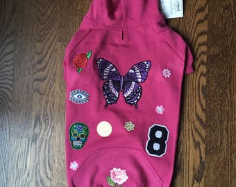 Dog hoodie Butterfly Patched dog hoodie patches butterfly parch  sugar skull patch rose patch flower patches size large Leash hole for leash