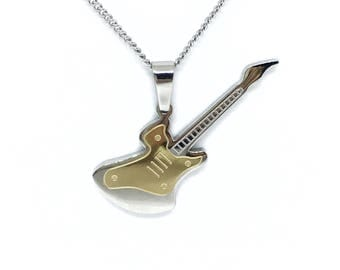 Necklace and pendant guitar stainless steel and hypoallergenic.