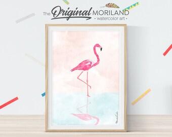 Flamingo Art Print, Flamingo Decor, Girls Pink Flamingo Print, Nursery Flamingo, Living Room Printable, Flamingo Art, Tropical Art Print