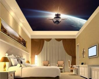 space shuttle ceiling, star ceiling, universe ceiling, space shuttle wall decal, sky ceiling wallpaper, sky wall mural, sky ceiling, space