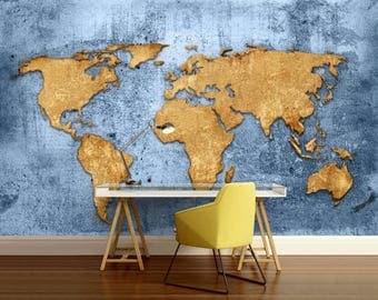 World map texture, wallpaper world map, blue world map wall decal, antique world map, modern wall mural, retro world map, map wallpaper