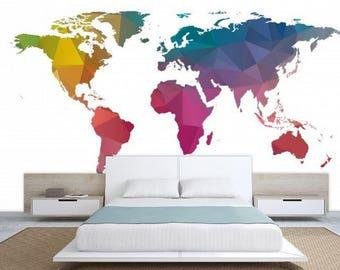 world map  texture, colorful world map, Wallpaper world map, education map decal, world map wall mural,modern world map, office world map