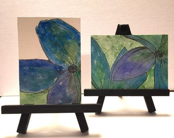 Original ACEO watercolor Set, MIni easel paintings, Tropical floral pen and ink ATC, artist trading card, ACEO, blue and green, gift