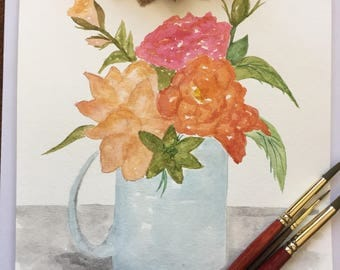 Coffee cup painting, original watercolor flowers, still life floral painting, kitchen painting, orange and pink painting