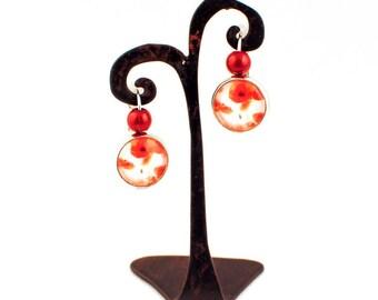 Gem - Stud Earrings - poppies