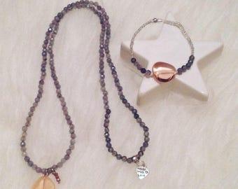 Pendant grey quartz + companion bracelet