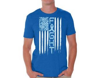 Prostate Cancer T shirts for Men Shirts  Tshirts Tops Tees Prostate Cancer Awareness Cancer Fight USA Flag