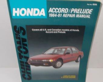 Honda Accord/Prelude 1984-91 REPAIR MANUAL by Chilton (c) 1992