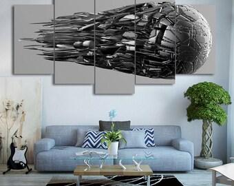 Soccer Wall Art, Soccer Canvas Art, Soccer Ball Silver 5 Piece Canvas Print,