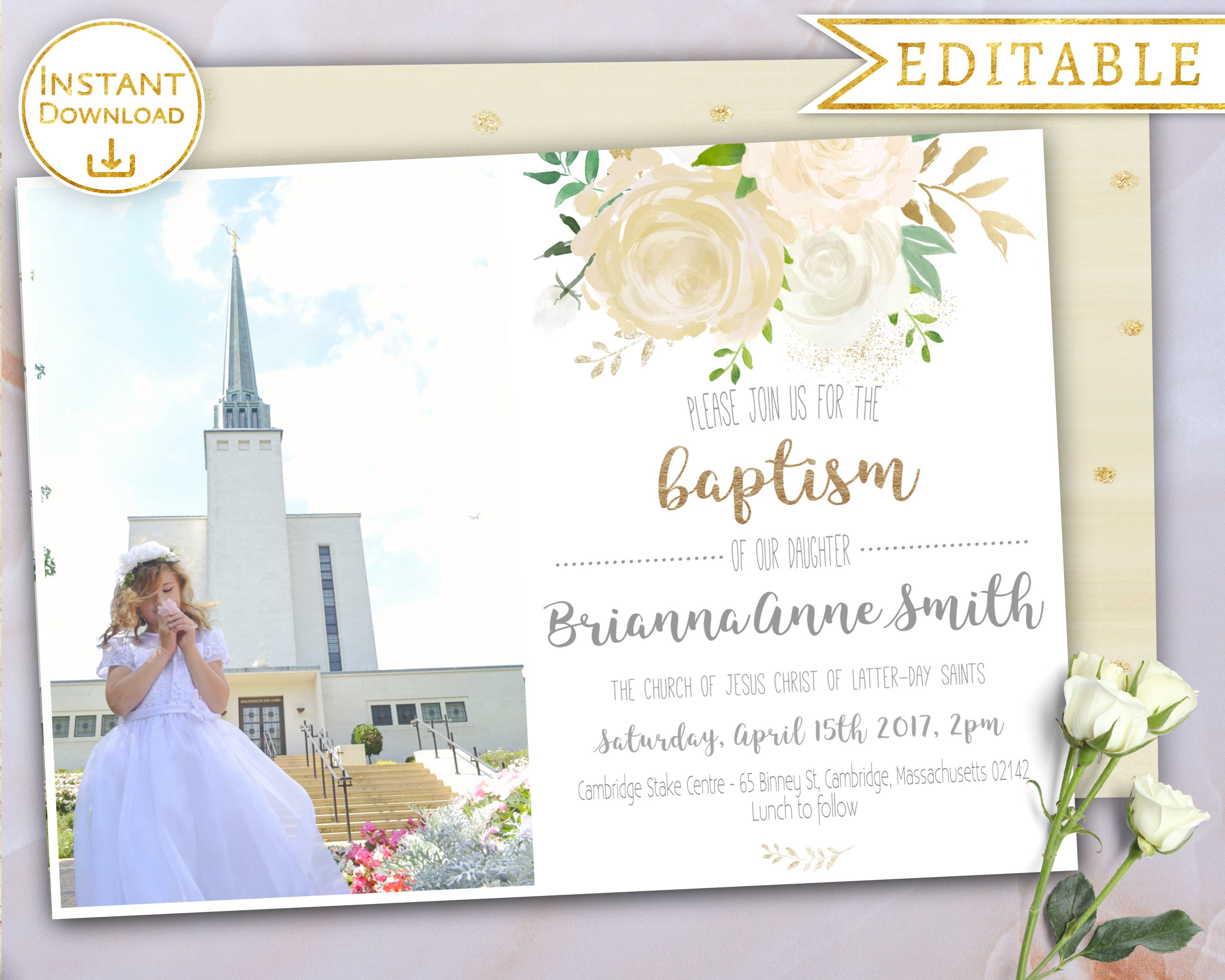 Baptism Invitation Girl LDS Editable PDF Floral White Gold Flower