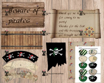 Expansion pack - red and green. Skull and crossbones pirate party printables